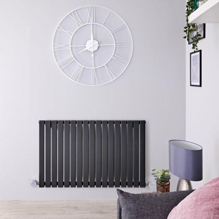Design Heizkörper Elektrisch Horizontal Einlagig Anthrazit 635mm x 1000mm inkl. 2x 600W Heizelemente - Sloane