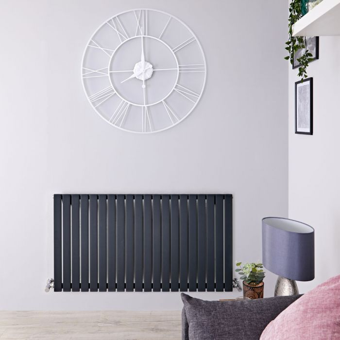 Design Heizkörper Horizontal Einlagig Anthrazit 635mm x 1180mm 1203W - Sloane
