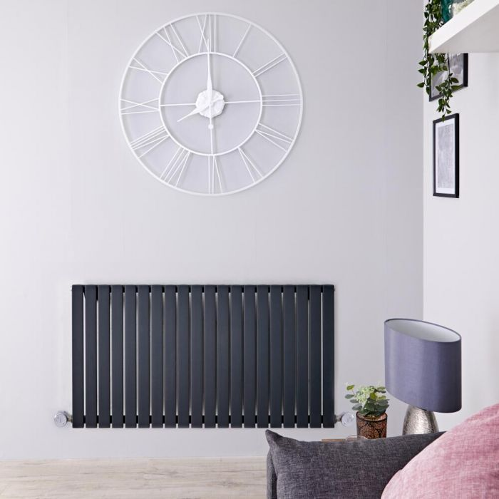 Design Heizkörper Elektrisch Horizontal Einlagig Anthrazit 635mm x 1180mm inkl. 2x 800W Heizelemente - Sloane