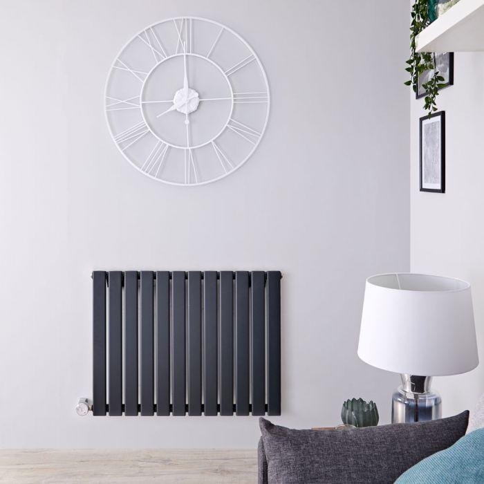 Design Heizkörper Elektrisch Horizontal Einlagig Anthrazit 635mm x 840mm inkl. ein 800W Heizelement - Delta