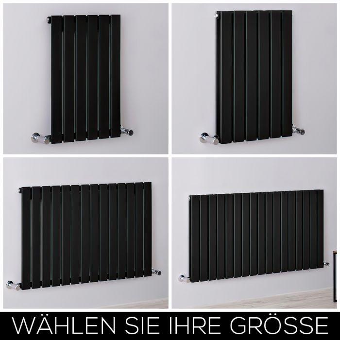 Design Heizkörper Horizontal Matt-Schwarz, H 635mm, Breite wählbar - Delta