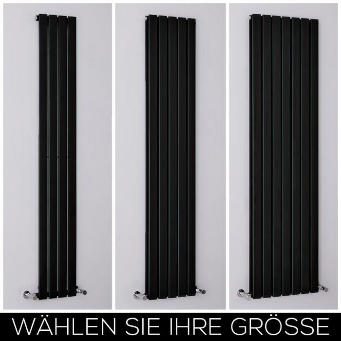 Design Heizkörper Vertikal Matt-Schwarz, Größe wählbar - Delta