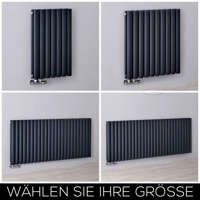 Design Heizkörper Mittelanschluss Horizontal H635mm Anthrazit, Breite Wählbar - Revive Caldae
