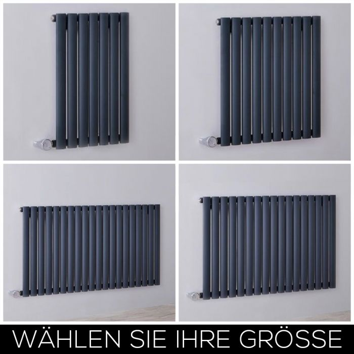 Elektrischer Design Heizkörper Horizontal Anthrazit H635mm inkl. Heizelement, Breite Wählbar - Revive