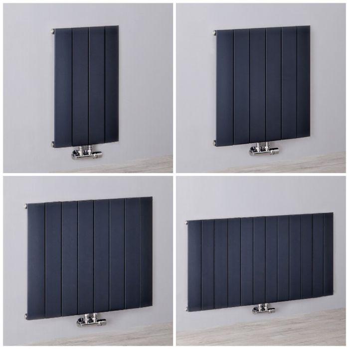 Aluminium Design Heizkörper (einlagig) mit Mittelanschluss, horizontal - H 600mm, Breite wählbar - Anthrazit - Aurora