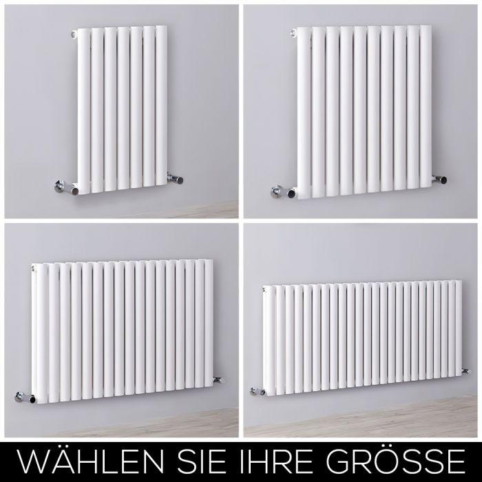 Design Heizkörper Horizontal Weiß, H 635mm, Breite wählbar - Revive