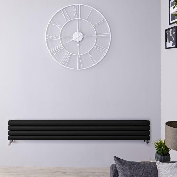 Design Heizkörper Horizontal Schwarz 236mm x 1600mm 814W (doppellagig) - Revive Slim