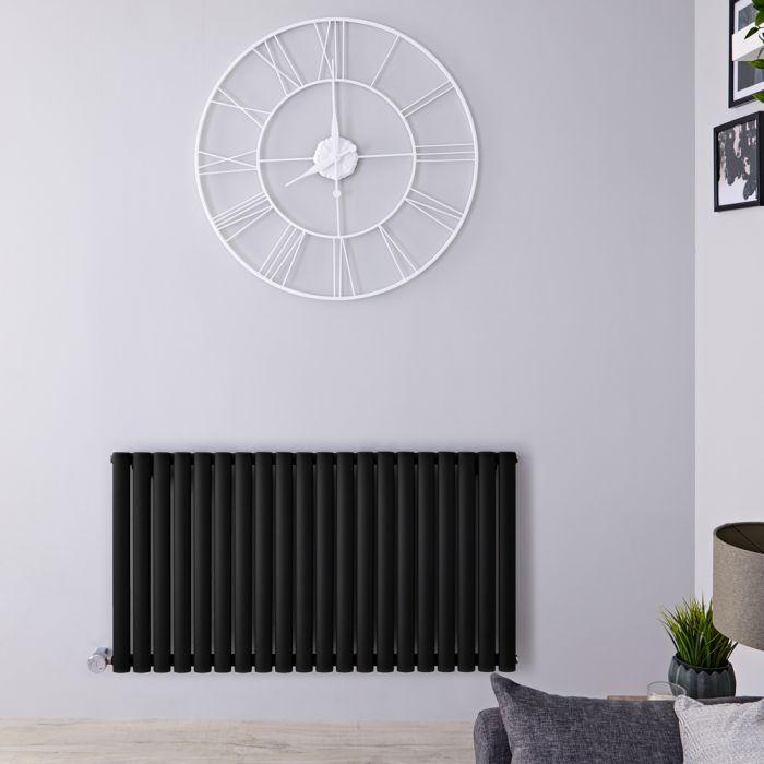 Design Heizkörper Elektrisch Horizontal Einlagig Matt-Schwarz 635mm x 1180mm inkl. 2x 800W Heizelemente - Revive