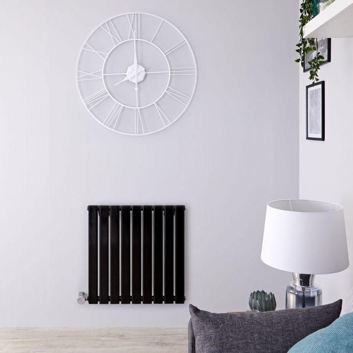 Design Heizkörper Elektrisch Horizontal Einlagig Schwarz 635mm x 630mm inkl. ein 600W Heizelement - Delta