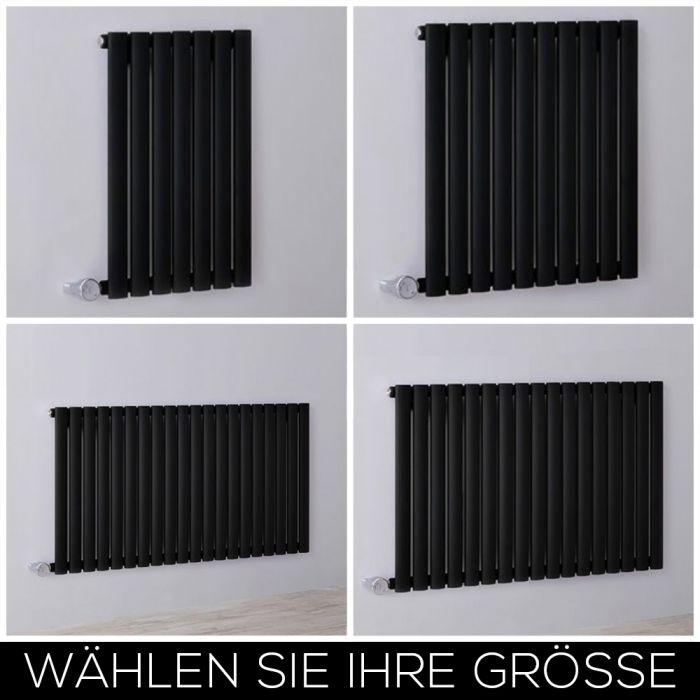 Elektrischer Design Heizkörper Horizontal H635mm Schwarz inkl. Heizelement, Breite Wählbar - Revive