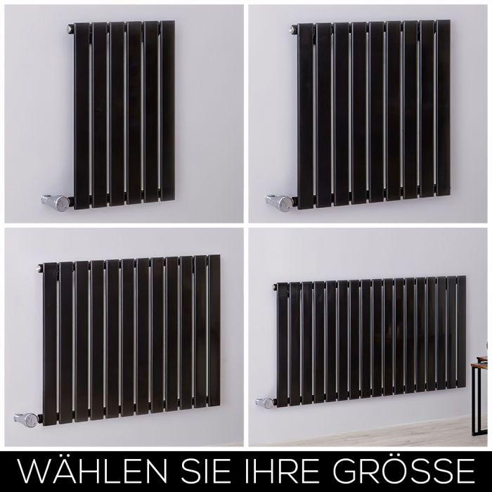 Design Heizkörper Elektrisch Horizontal H635mm Schwarz inkl. Heizelement, Breite wählbar - Delta