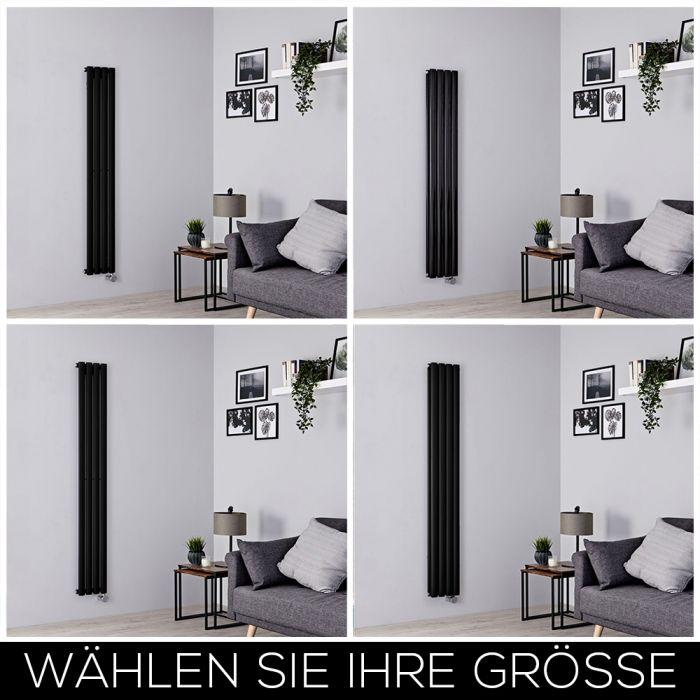 Elektrischer Design Heizkörper Vertikal B236mm Schwarz inkl. Heizelement, Höhe Wählbar - Revive