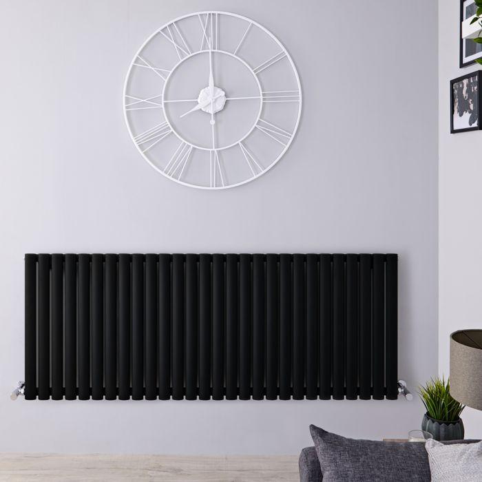 Design Heizkörper Horizontal Einlagig Matt-Schwarz 635mm x 1647mm 1671W - Revive