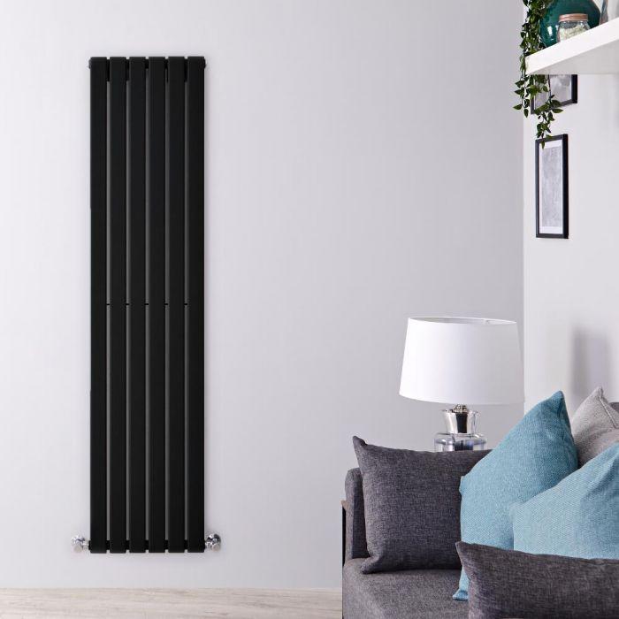 Design Heizkörper Vertikal Schwarz 1600mm x 420mm 879W (einlagig) - Delta