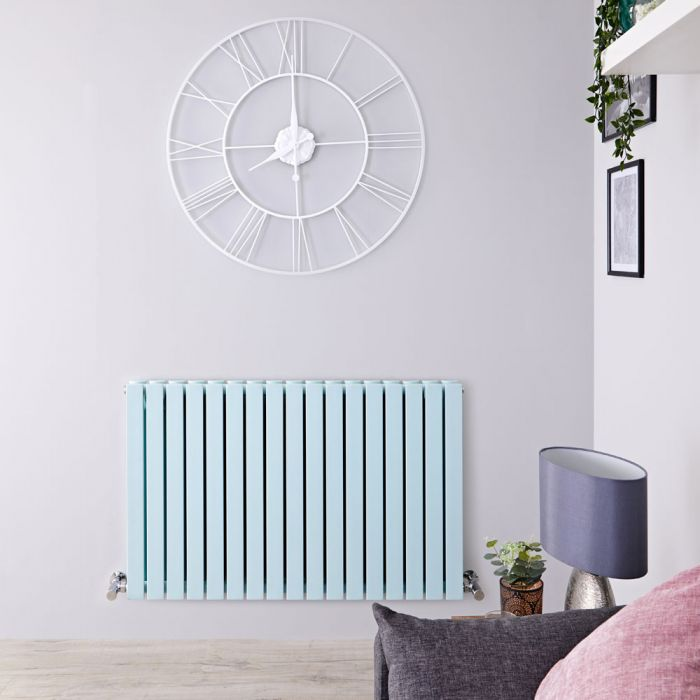 Design Heizkörper Horizontal Pastell Mintgrün 1587Watt 635mm x 1000mm Doppellagig - Sloane