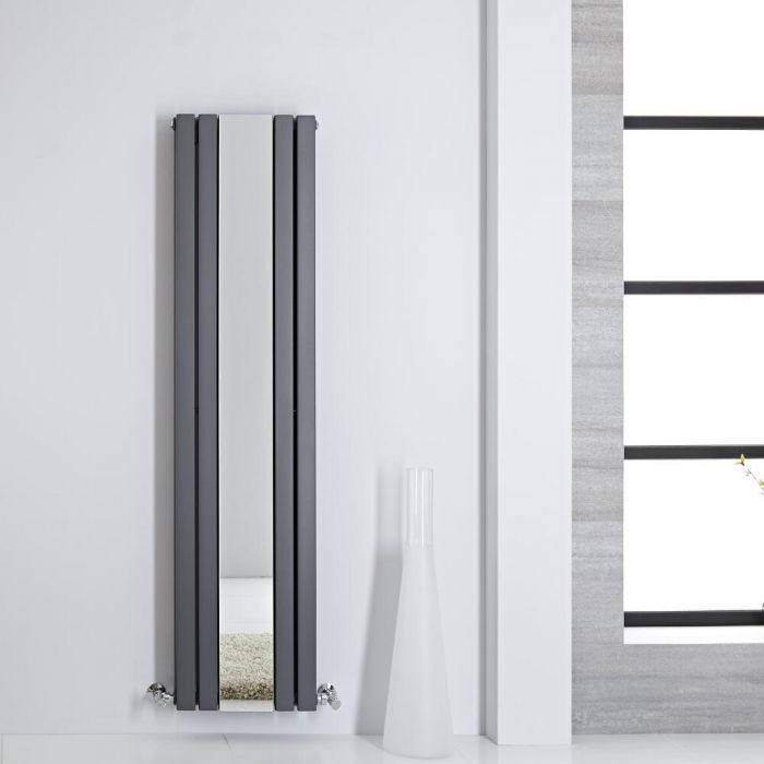Design Heizkörper mit Spiegel Vertikal Anthrazit 1600mm x 385mm 1212W - Sloane