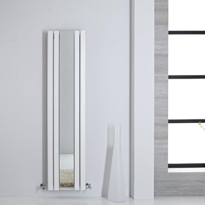 Design Heizkörper mit Spiegel Vertikal Weiß 1600mm x 385mm 1212W - Sloane