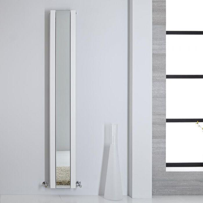 Design Heizkörper mit Spiegel Vertikal Weiß 1800mm x 265mm 901W - Sloane