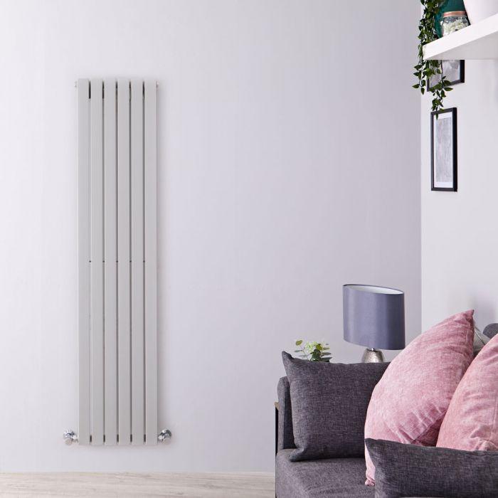 Design Heizkörper Vertikal Silberfarben 1600mm x 354mm 861W (einlagig) - Sloane