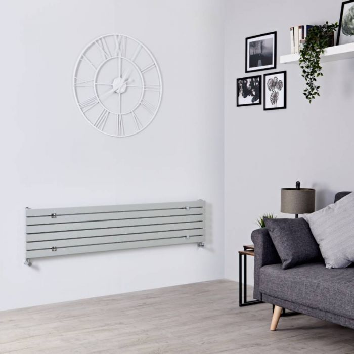 Design Heizkörper Horizontal Silberfarben 354mm x 1600mm 773W (einlagig) - Sloane