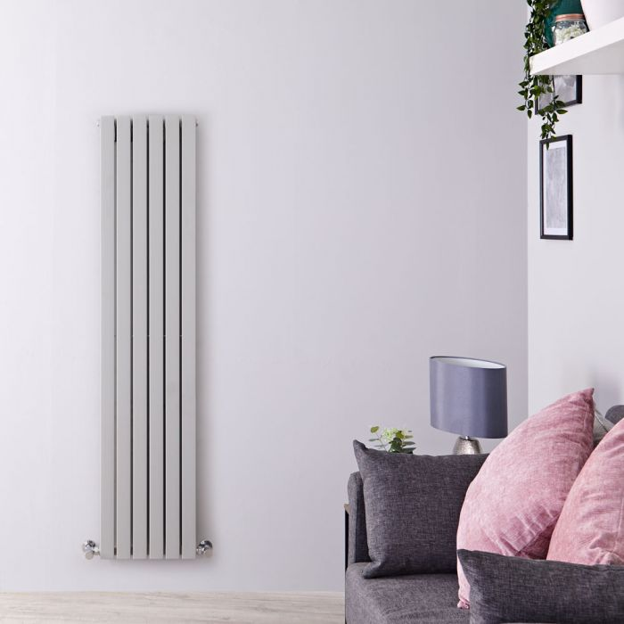 Design Heizkörper Vertikal Silber/Grau 1600mm x 354mm 1193W (doppellagig) - Sloane