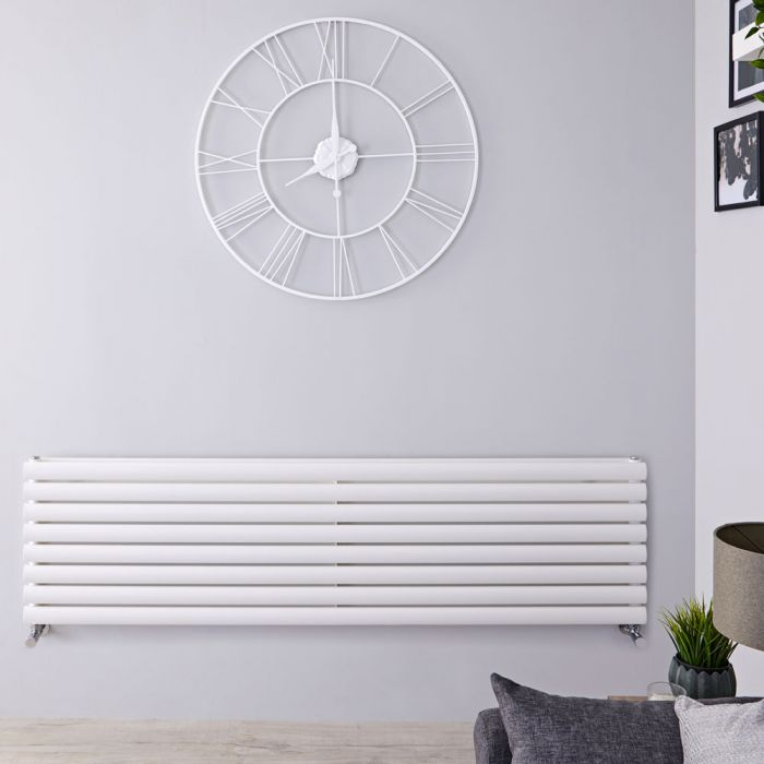 Design Heizkörper Horizontal Weiß 472mm x 1600mm 1610W (doppellagig) - Revive