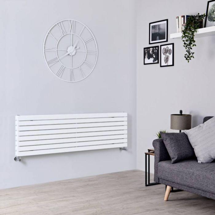 Design Heizkörper Horizontal Weiß 472mm x 1600mm 1577W (doppellagig) - Sloane
