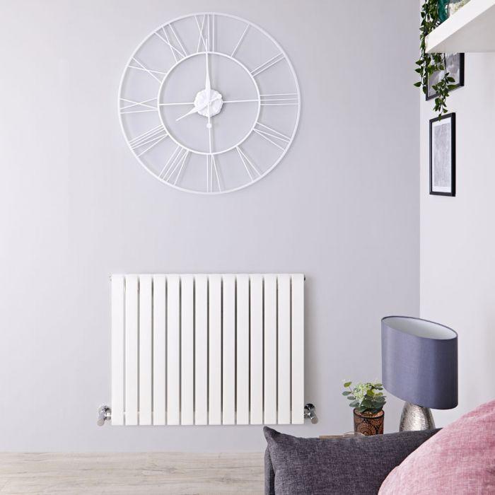 Design Heizkörper Horizontal Weiß 635mm x 826mm 841W (einlagig) - Sloane