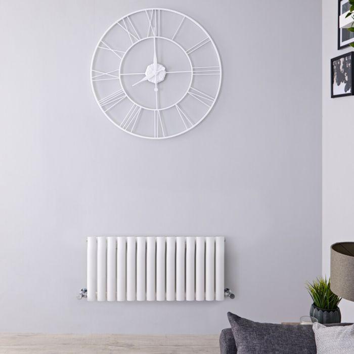 Design Heizkörper Horizontal Weiß 400mm x 826mm 634W (einlagig) - Revive