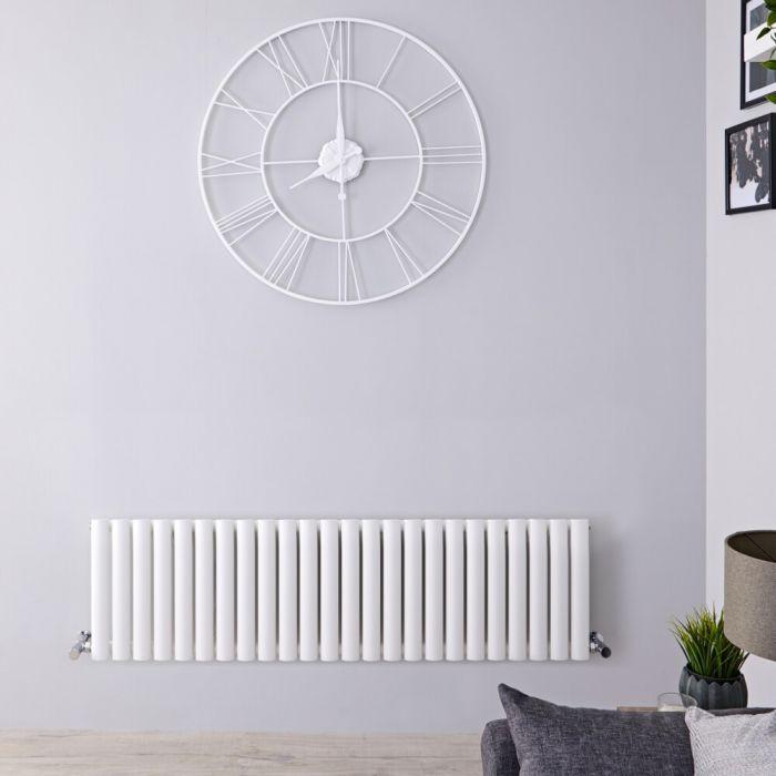 Design Heizkörper Horizontal Weiß 400mm x 1411mm 1087W (einlagig) - Revive