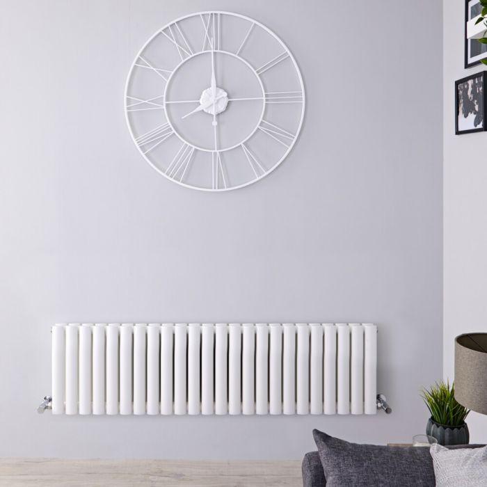 Design Heizkörper Horizontal Weiß 400mm x 1411mm 1653W (doppellagig) - Revive