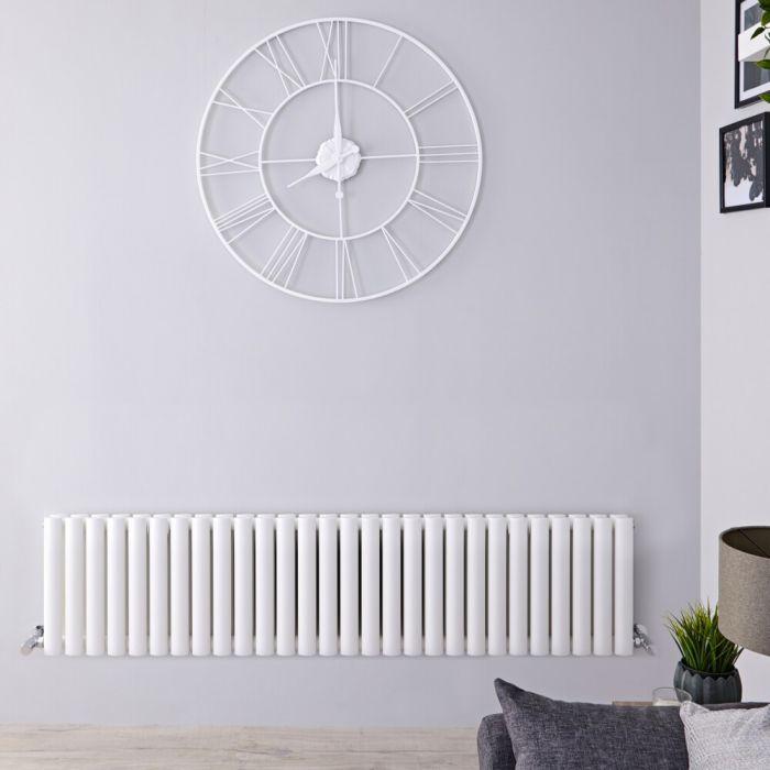 Design Heizkörper Horizontal Weiß 400mm x 1647mm 1733W (doppellagig) - Revive
