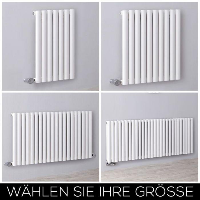 Elektrischer Design Heizkörper Horizontal H635mm Weiß inkl. Heizelement, Breite Wählbar - Revive