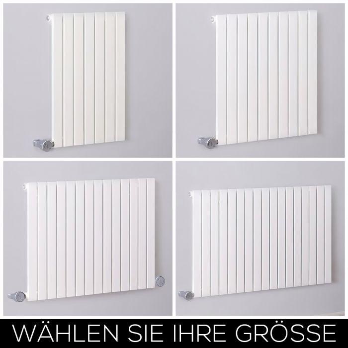 Design Heizkörper Elektrisch Horizontal H635mm Weiß inkl. Heizelement, Breite wählbar - Sloane
