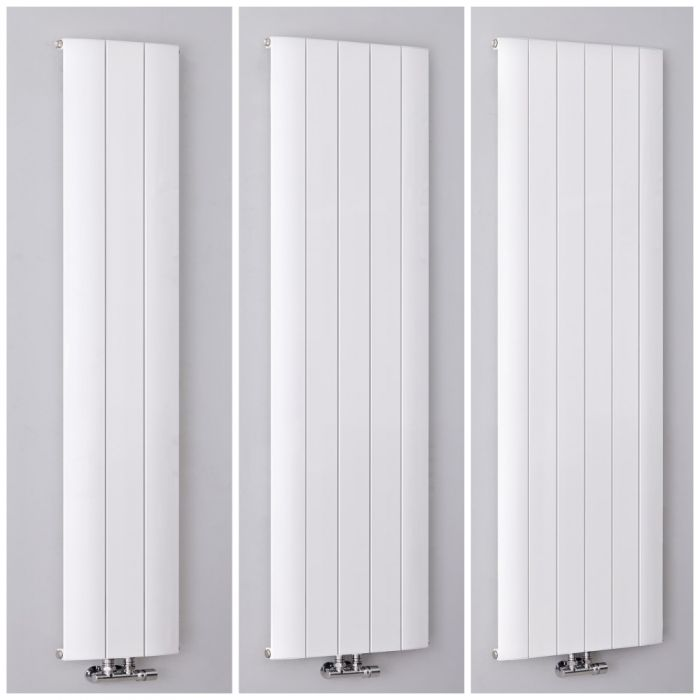 Aluminium Design Heizkörper (einlagig) mit Mittelanschluss, vertikal – Größe wählbar – Weiß – Aurora