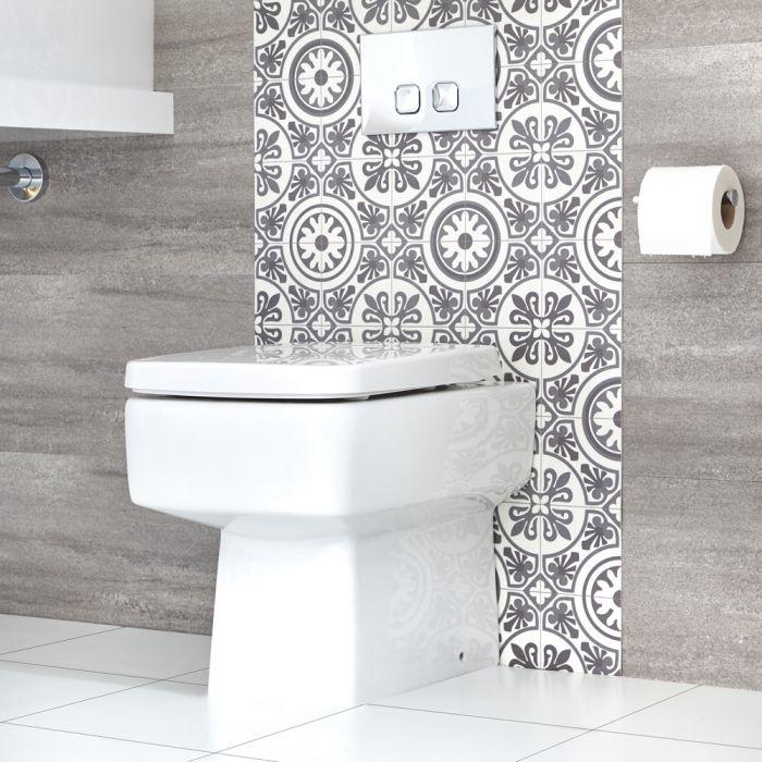 Eckige Stand Toilette inkl. Sitz mit Absenkautomatik exkl. Spülkasten - Exton
