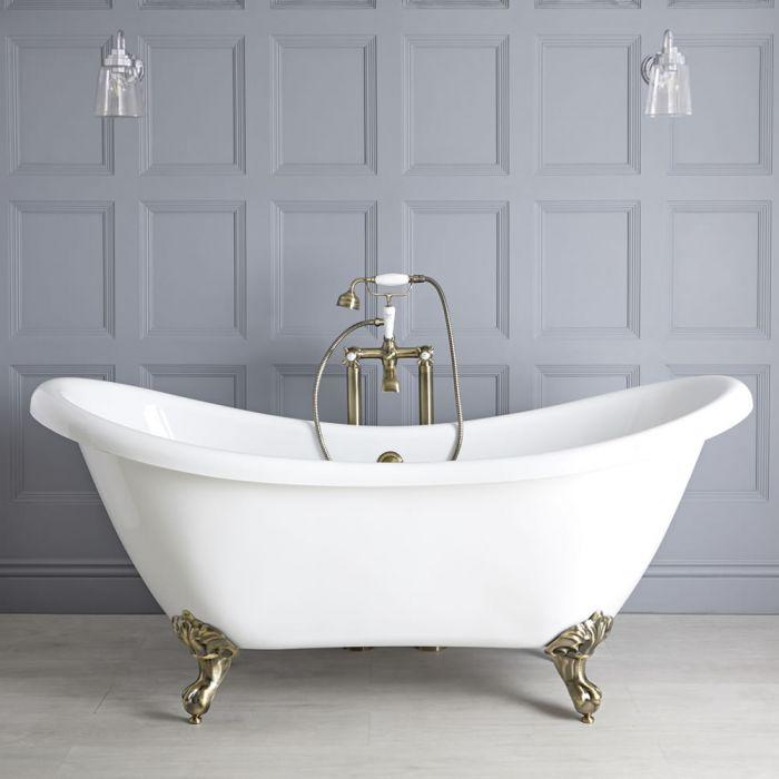 Nostalgie Doppelseitige Freistehende Badewanne Weiß 1750mm x 730mm mit Füßen in gebürstetem Gold - Legend