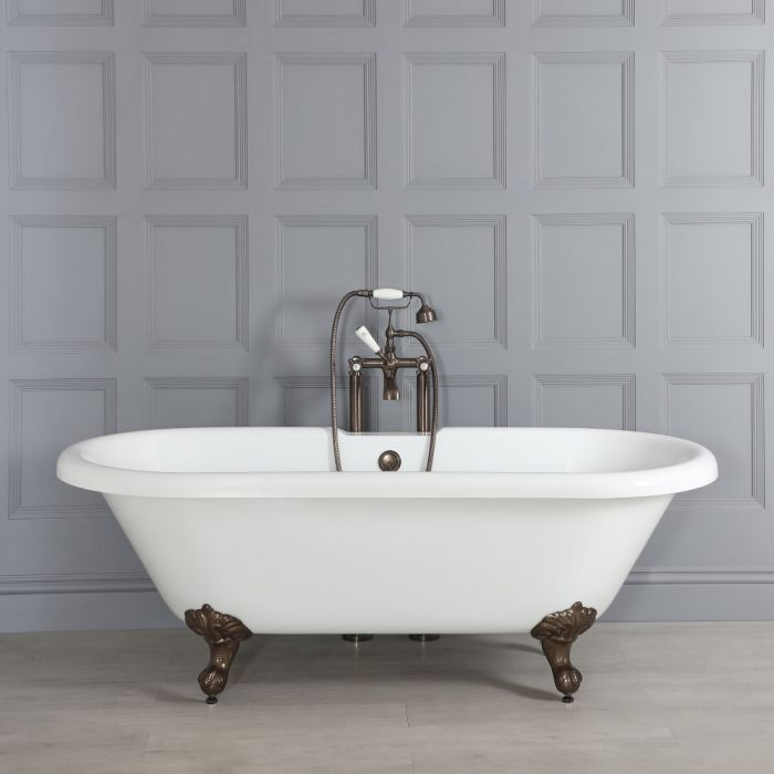 Freistehende Badewanne mit zwei Rückenschrägen, 1795mm x 785mm, Mittelablauf - Füße in geölter Bronze - Oxford