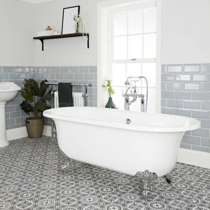 Freistehende Badewanne mit zwei Rückenschrägen, 1730mm x 780mm, Mittelablauf - Füße wählbar - Richmond