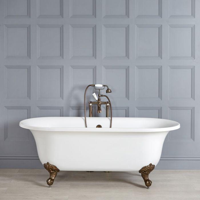 Freistehende Badewanne mit zwei Rückenschrägen, 1730mm x 780mm, Mittelablauf - Füße in geölter Bronze - Richmond