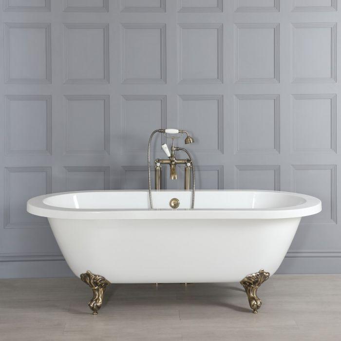 Doppelseitige Freistehende Badewanne 1780mm x 825mm mit Füßen in gebürstetem Gold - Oxford