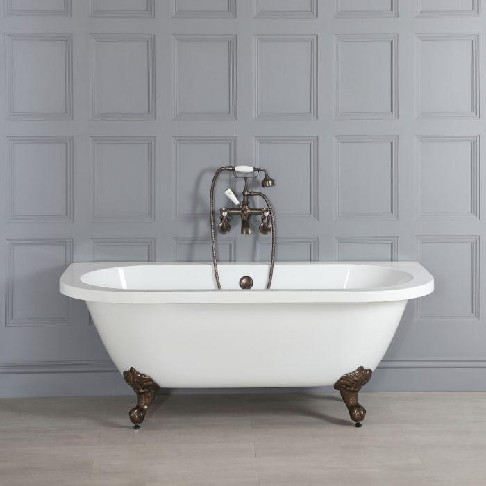 Freistehende Vorwand-Badewanne 1685mm x 780mm mit Füßen in geölter Bronze - Richmond