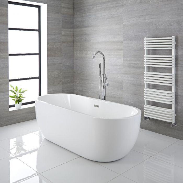 Freistehende Badewanne (oval) mit zwei Rückenschrägen, 1655mm x 750mm, Mittelablauf - Otterton