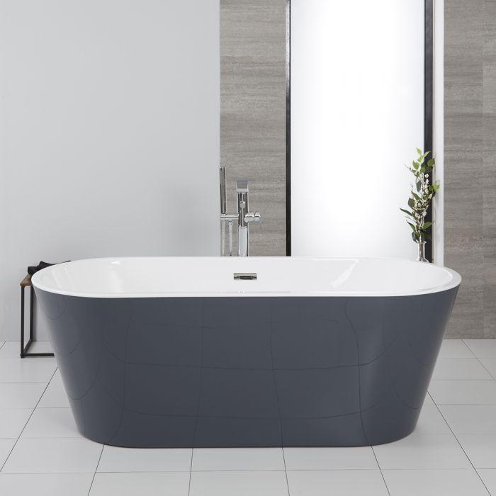 Doppelseitige Freistehende Badewanne Steingrau Modern 1695mm x 750mm - Witton