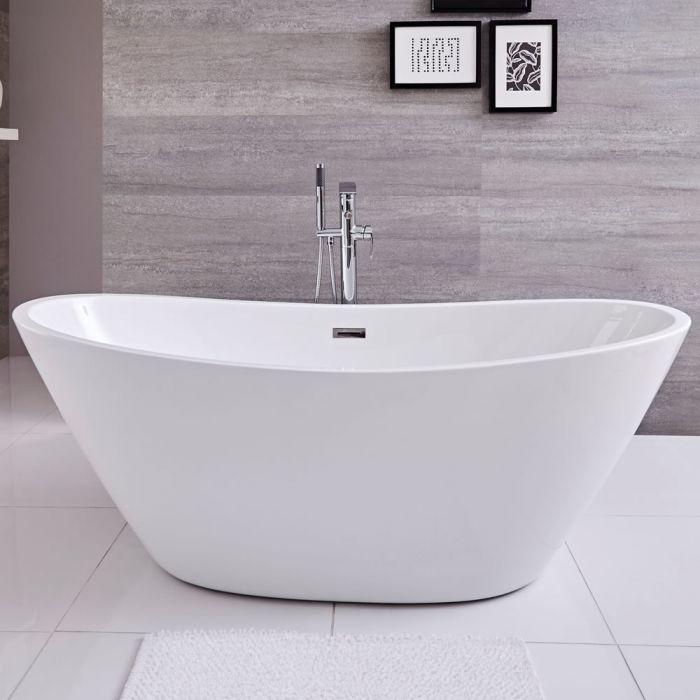 Freistehende Badewanne (oval) mit zwei Rückenschrägen, 1570mm x 785mm, Mittelablauf - Ashbury