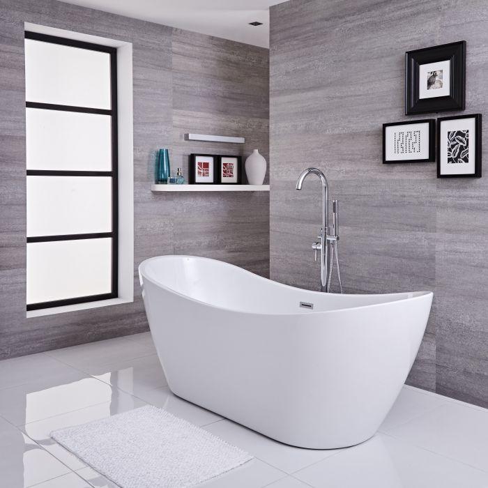 Freistehende Badewanne (oval) mit erhöhten Rückenschrägen, 1830mm x 710mm, Mittelablauf - Otterton