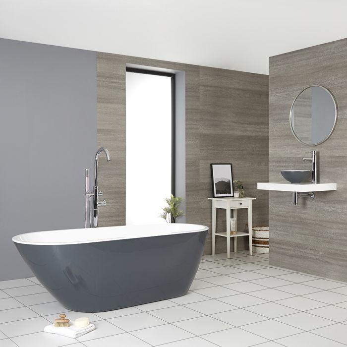 Moderne Freistehende Badewanne Steingrau Oval 1670mm x 730mm - Witton