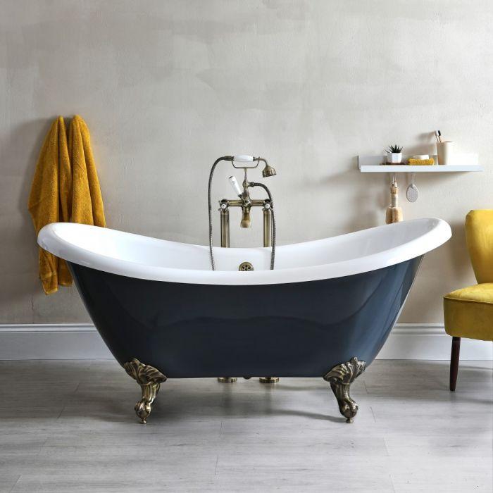 Freistehende Badewanne mit erhöhten Rückenschrägen, Steingrau, 1750mm x 730mm, Mittelablauf - Füße in gebürstetem Gold - Elton