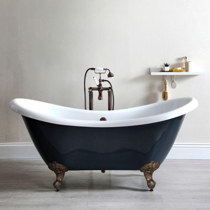 Freistehende Badewanne mit erhöhten Rückenschrägen, Steingrau, 1750mm x 730mm, Mittelablauf - Füße in geölter Bronze - Elton