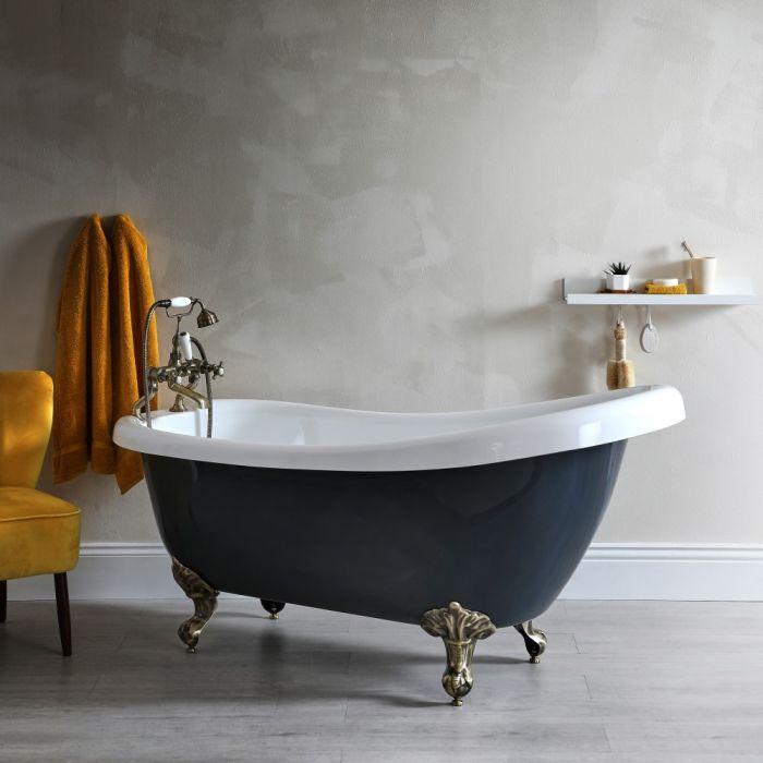 Freistehende Badewanne mit erhöhter Rückenschräge, Steingrau, 1710mm x 740mm - Füße in gebürstetem Gold - Elton